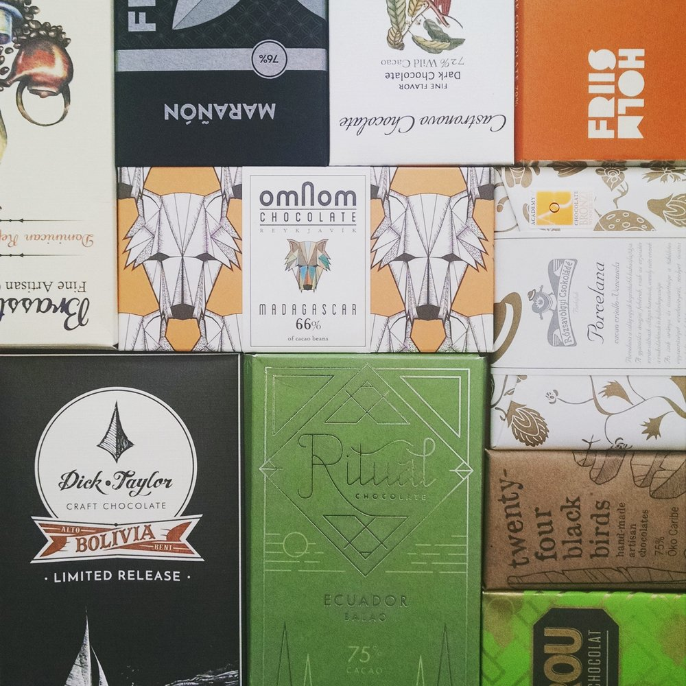 The packaging arms race plays out on some craft bars picked up at DeLaurentiin Seattle, WA.