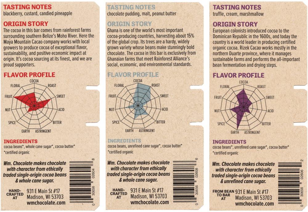 As is common in craft chocolate, my packaging highlights flavor, story, and ingredients rather than nutrition facts.