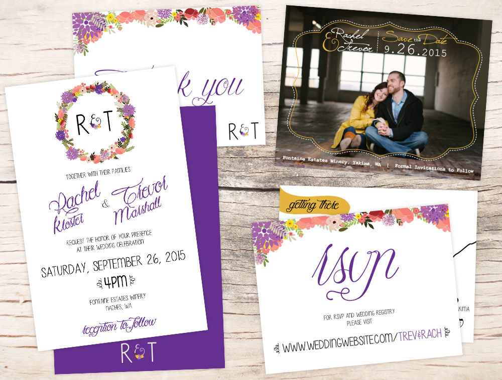 Wedding Invitations, RSVP cards, Thank You Cards, Save the Date