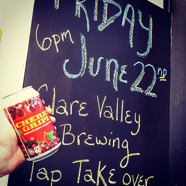 This Friday at the Brewery we're launching the new Cherry Gripe Cherry Chocolate Coconut stout brewed with Damo from #clarevalleybrewingco! There will also be 5 of their other awesome beers on tap! Starts at 5pm!