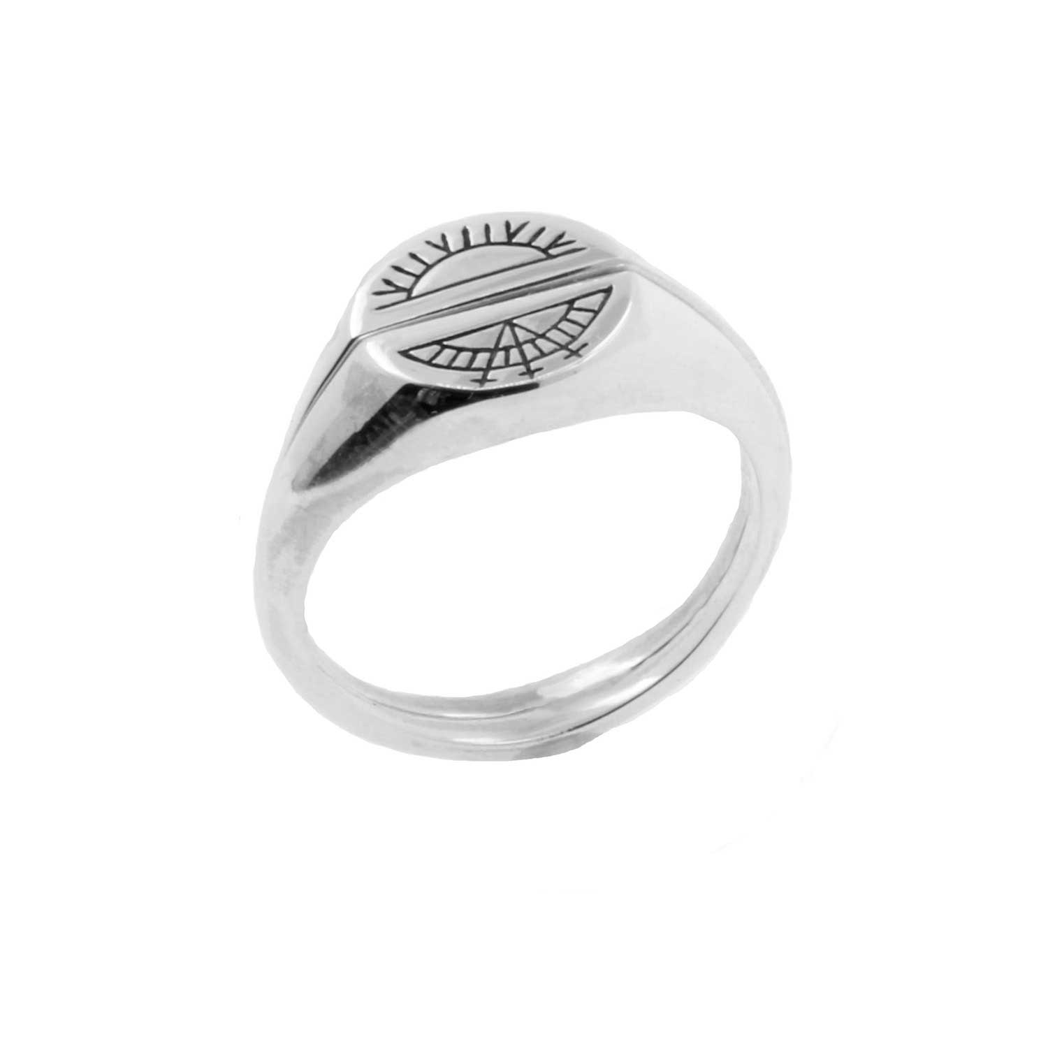 Sun & Moon Signet Rings - Silver — No 13 Jewellery