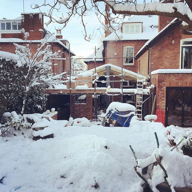 Snow stops work on our latest project in Moseley #moseley #builders #wowdevelopments #birmingham #birminghambuilders #project #newproject #design #space #living #architecture