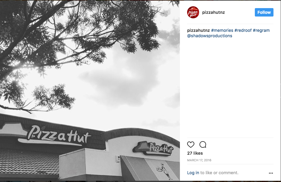 Pizza Hut NZ Creative photography of the last Pizza Hut family restaurant before the company had switched to a takeaway only format through New Zealand. The work was featured in Pizza Hut New Zealand's social channels.