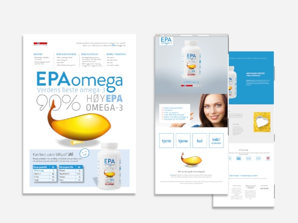 epaomega.no – brand identity, website, packaging, posters
