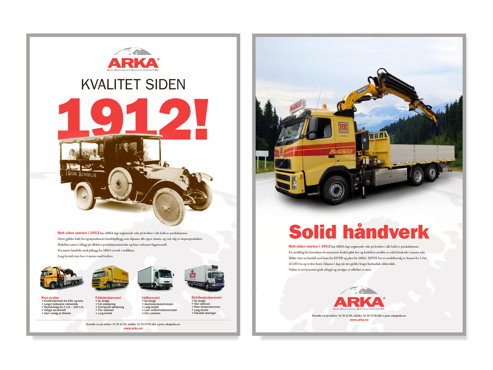 Full page ads for ARKA, Bergen, 2005.  Client: M&M. Copy: René Rønshof