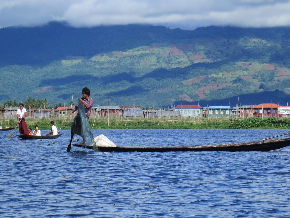 A Shan fisherman on Inle Lake, Myanmar