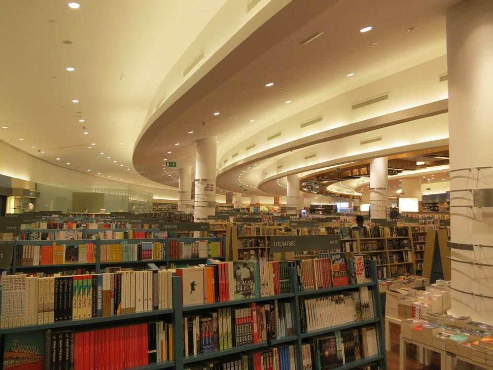 My favorite bookstore in the world, Asian chain Kinokuniya. This one located in one of the world's most ridiculous malls, the Dubai Mall