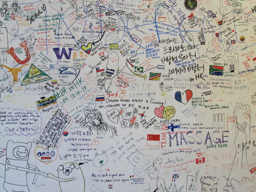 Guest-submitted memory mural at the Rainbow Lodge, Hong Kong.