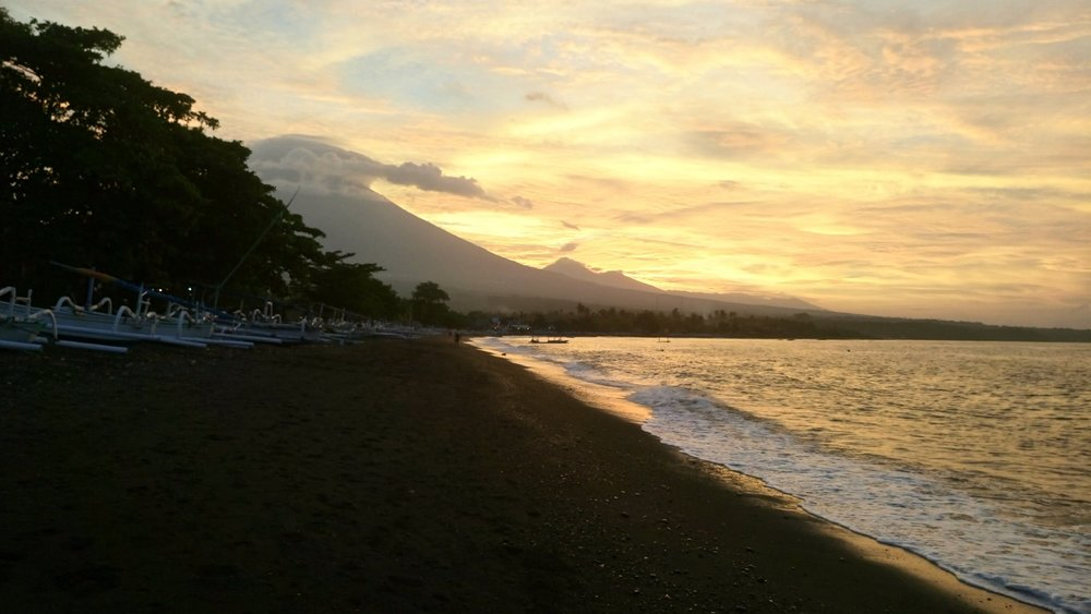 Sunset over Mount Agung, Amed, East Bali
