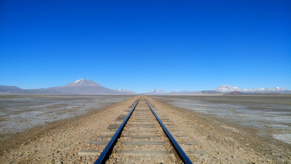 Train tracks connect Southern Bolivia with Northern Chile