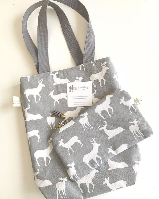 Special order: Tote bag and matching zipper pouch! I'm always happy to take your special fabric request ( color, print...) #pauletmadeleine #yourorders #specialrequest #totebag #pouch #zipperedpouch #grey #deer #greyandmustard #sewing #homemade #uniquegifts #lehighvalley #pennsylvania