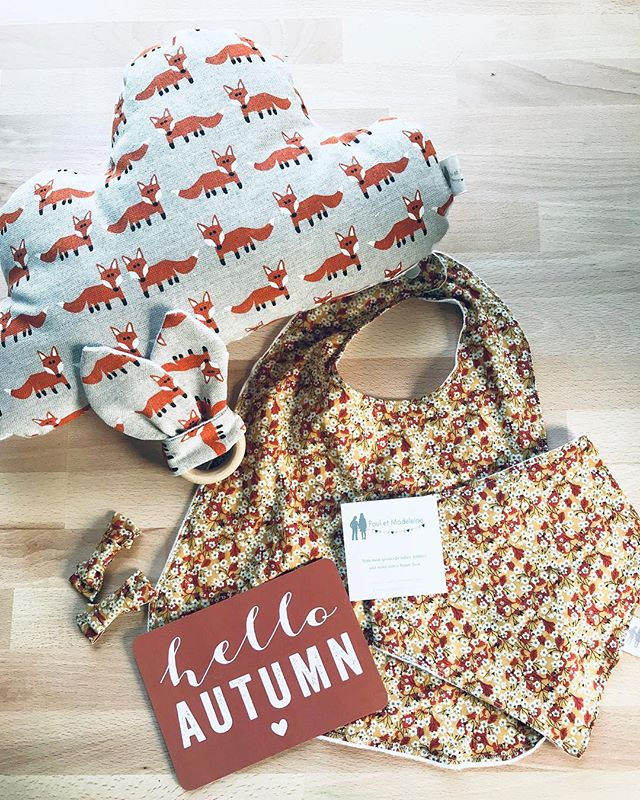 It's been so long! Paul et Madeleine is back! With Fall items for your babies, kids and your Home #sewing #pauletmadeleine #fall #autumn #pillow #cloud #bandanabib #barrettes #fox #libertyoflondon #bib #organicwoodringteether