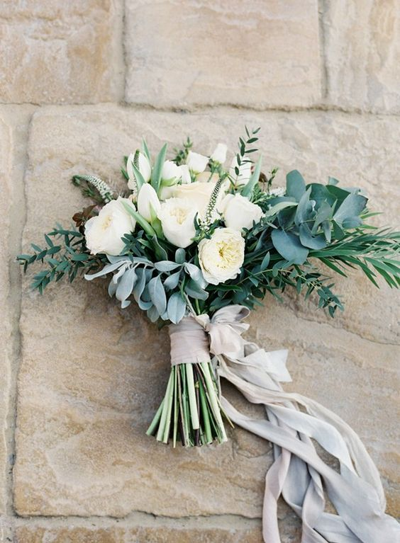 Bride's Bouquet - Lush greenery with white flowers. Simple and elegant style.