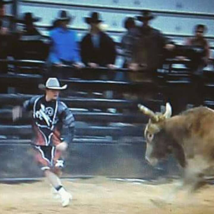Up and coming bullfighter Ely Sharkey fighting bulls and representing the scholarship fund. Thank you.