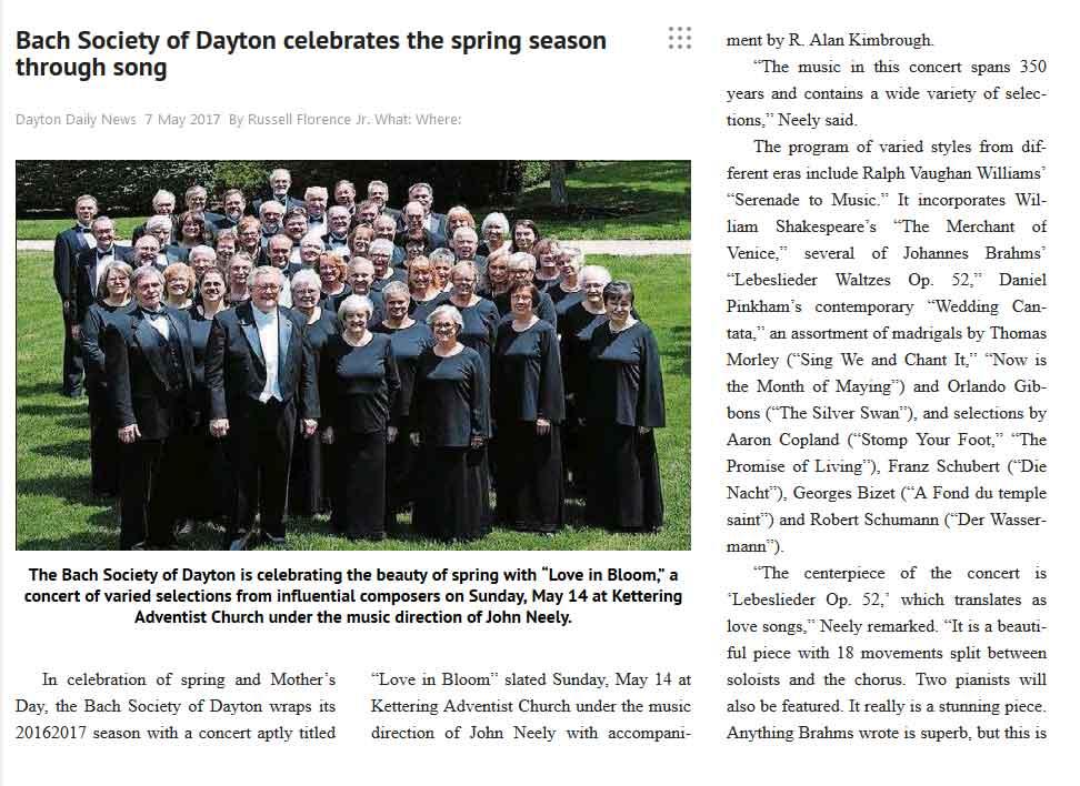 Bach Society of Dayton celebrates the spring season through song