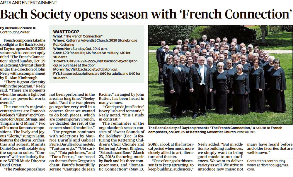 Bach Society opens season with 'French Connection'