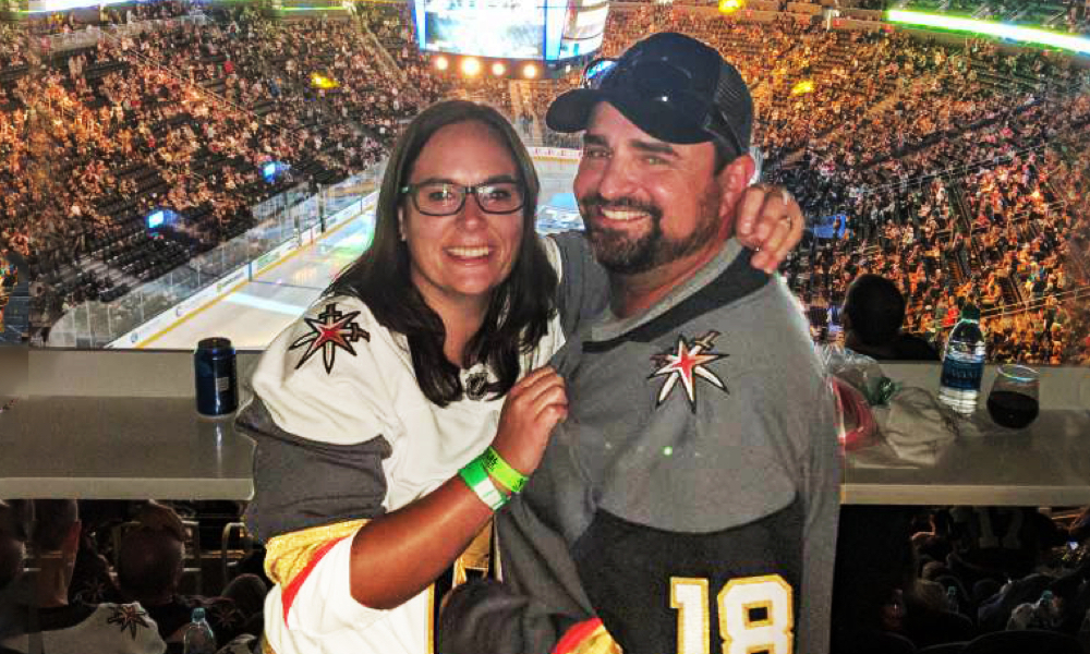 Emily Schmidt and Bryan Gaudet were engaged at a Vegas Knights playoff game in the spring of 2018.