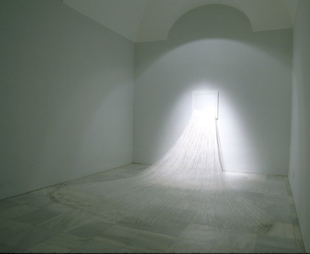 Sent Letter, 1997, thread, needles, acrylic on linen, dimensions variable, Installations views at The Reina Sofia, Madrid, 1998
