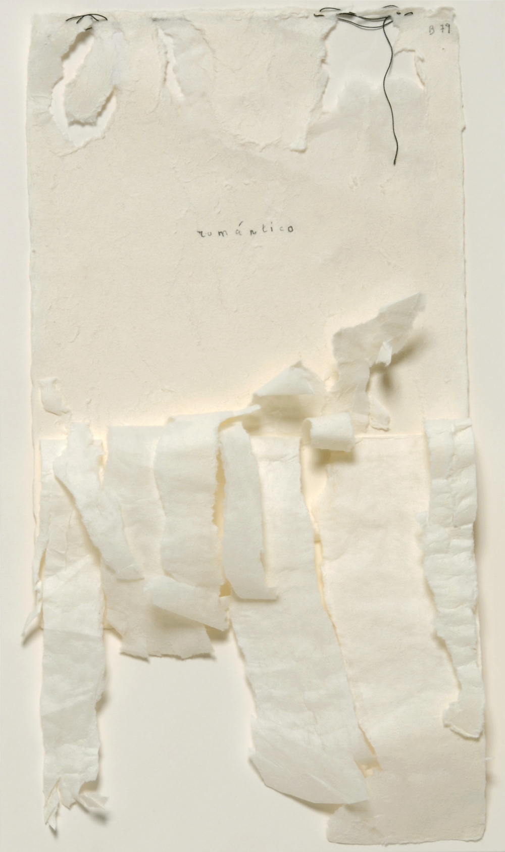 L'Amour Propre, 2005, torn paper, graphite and thread, 40 x 23 cms