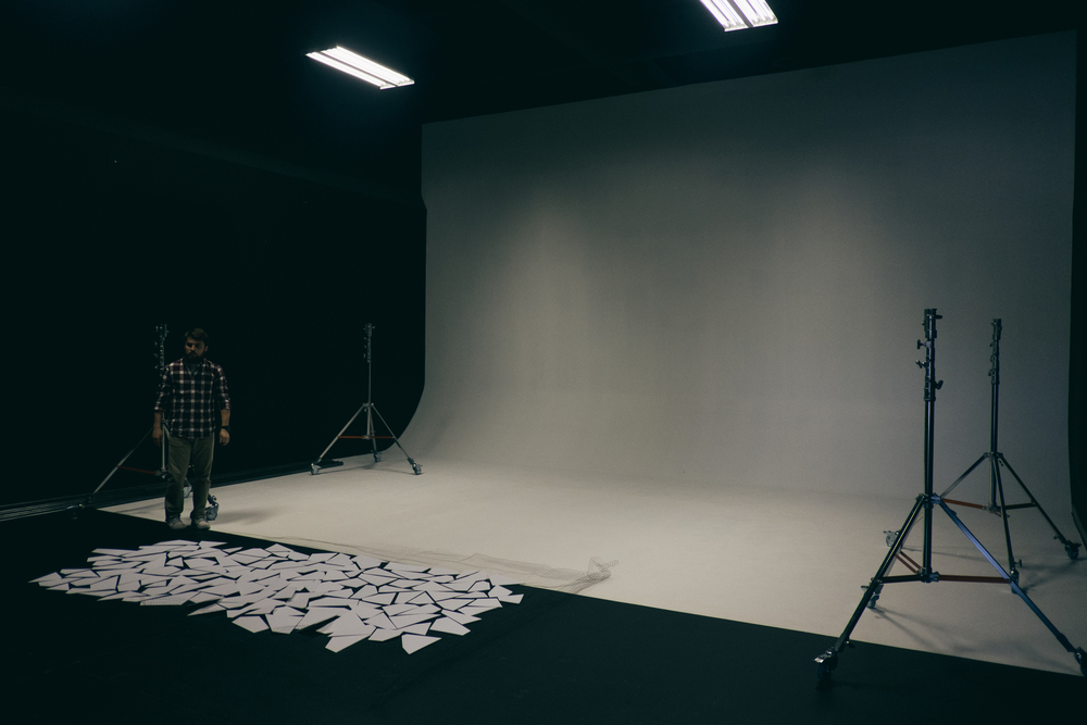 The studio when we showed up - blank white wall.