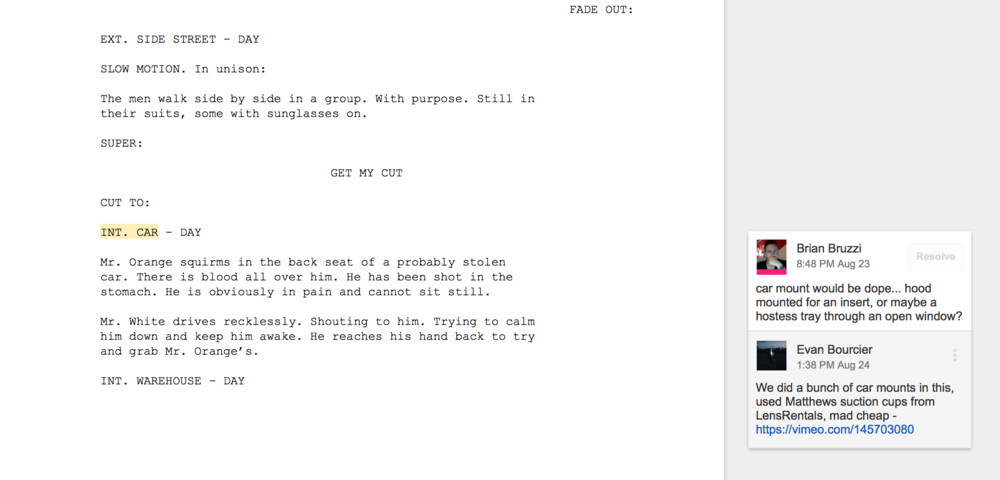 Screen grab of our script in google docs, including some of the comments we were leaving for each other.