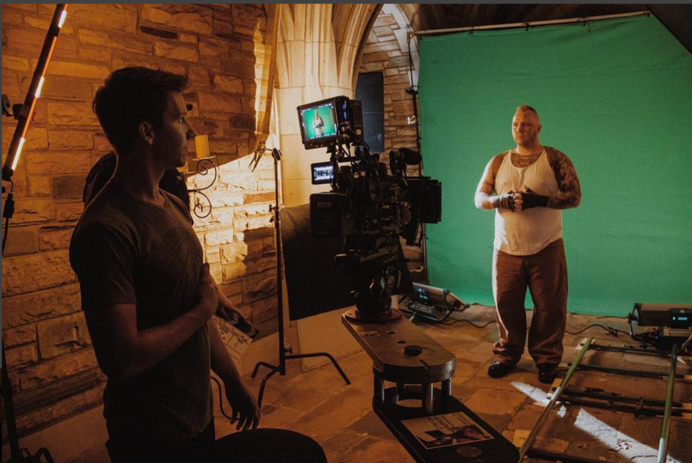 Chris checks up on a VFX shot - Green screen lit with Skypanels