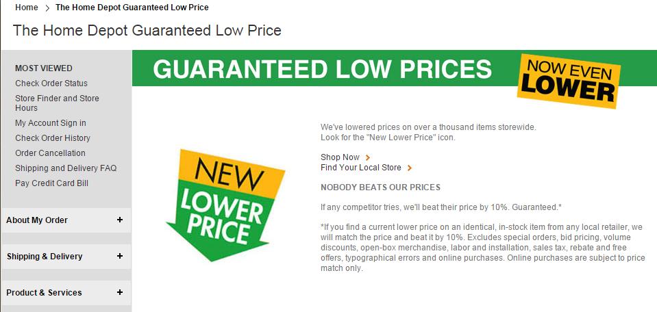 home depot price match