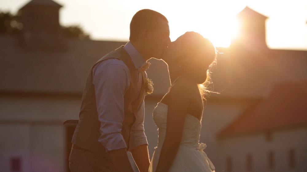 barn wedding sunset