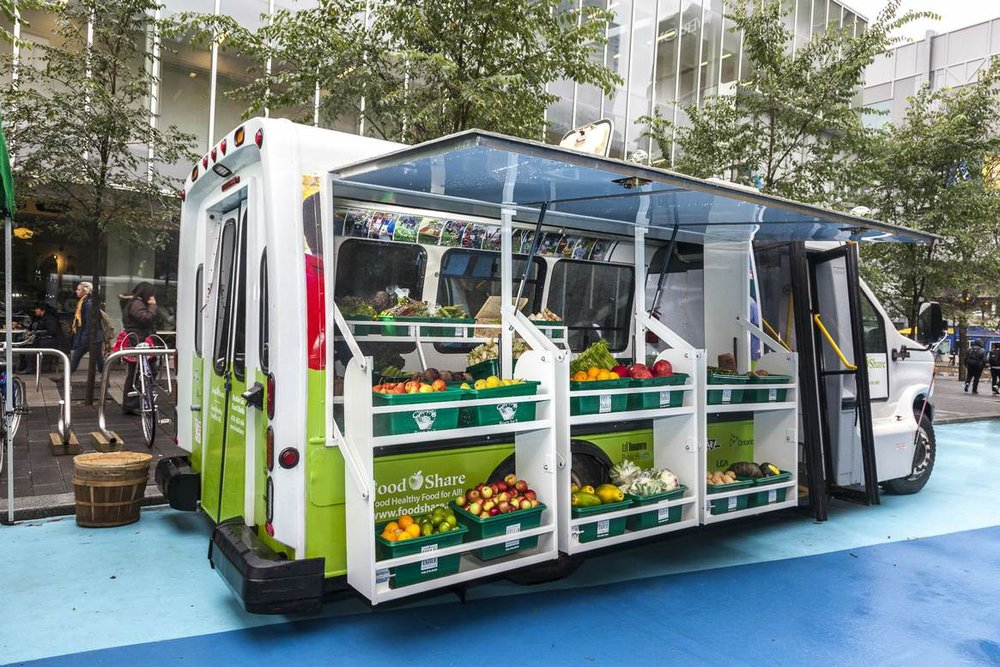 A fresh fruit and vegetable market on wheels.