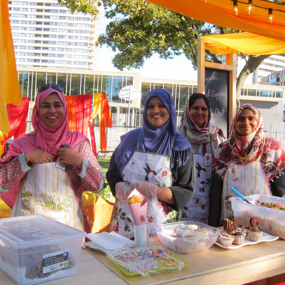 An annual summer harvest festival in RV Burgess Park unifies the surrounding tower community.  At the last two festivals, Thorncliffee Action Group, Diasporic Genius and ERA Architects presented the Women's Cultural Café, which celebrates cultural exchange through food.   Toronto, Canada