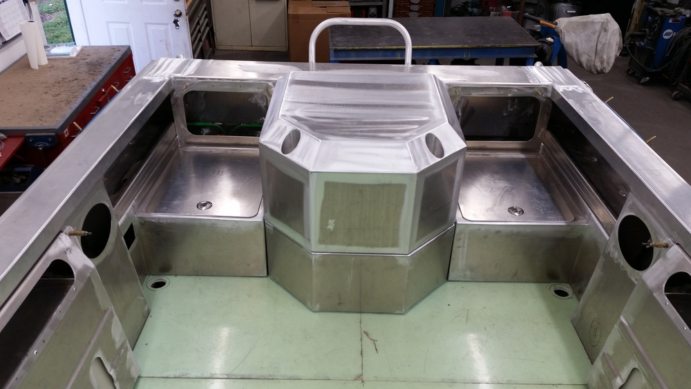 Jet boat motor box step<br>storage compartments