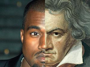 Photo: Kanye: Flickr/David Shankbone. Beethoven: Shutterstock