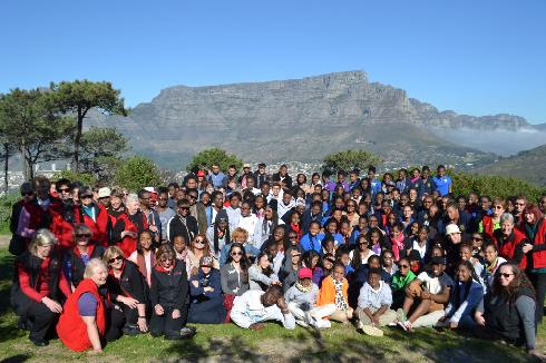 Combined Ihlombe! Choral Festival participants at the foot of Signal Hill in Cape Town.
