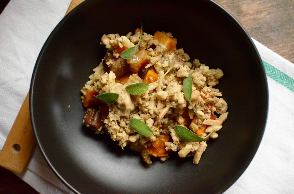 savory sweet potato and sausage crumble recipe
