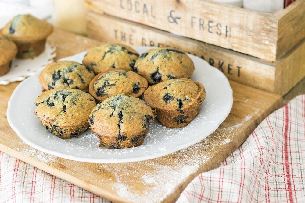 gluten free dairy free blueberry cornbread muffins
