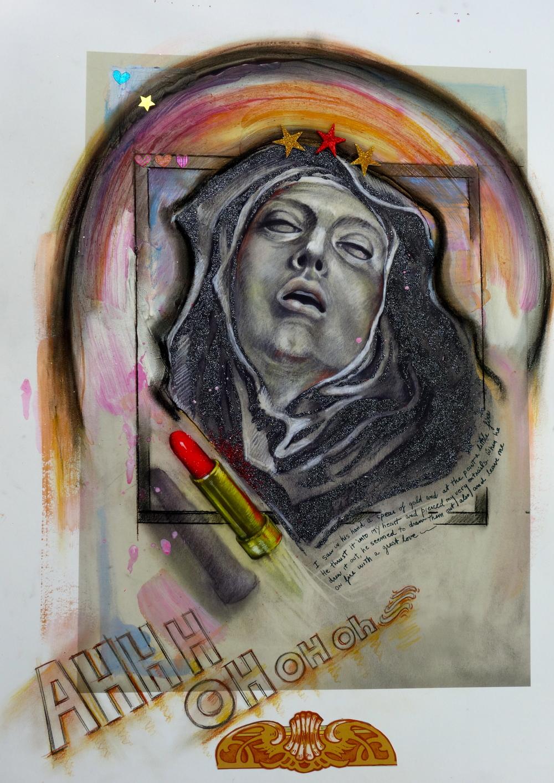 "St. Teresa AHHH OH OH oh, 2014, 29""x 22"""