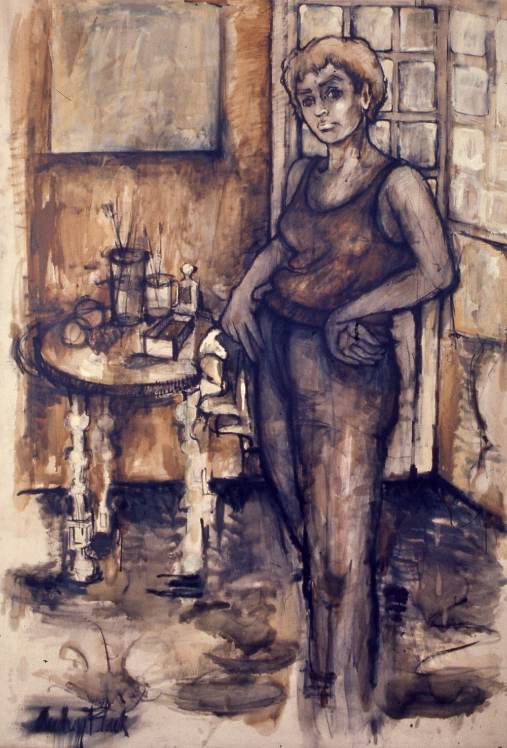 Self-Portrait in Tank Top, 1956-57, 70x48""