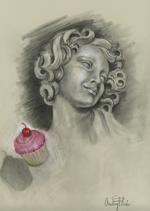 "Cupcake Angel, 2011, 18.5""x 13.5"""