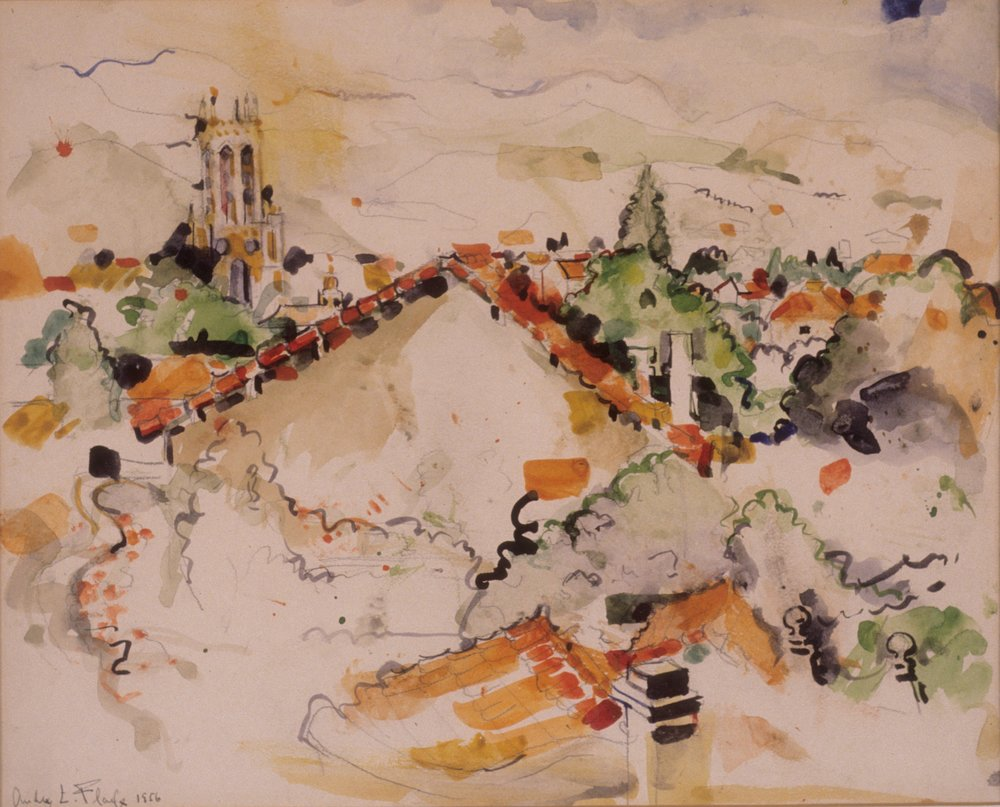 Flack_Mont St Victoire_1956_watercolor on paper.jpg