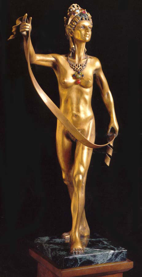 The Art Muse, 1988, Gold-plated bronze with jewels, height 16 1/2""