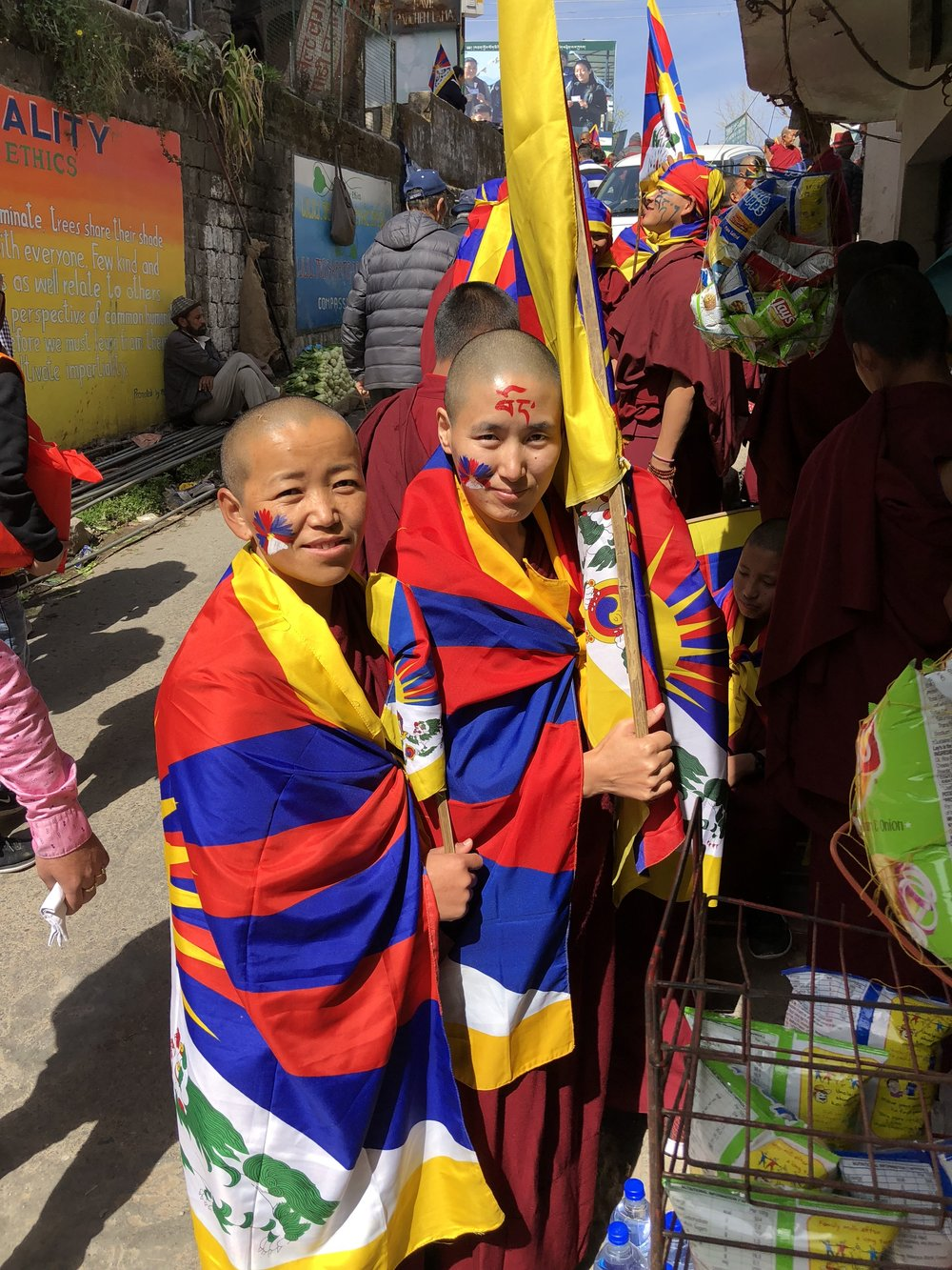 TWO NUNS IN DHARAMSALA   Photo by Cindy Shaw