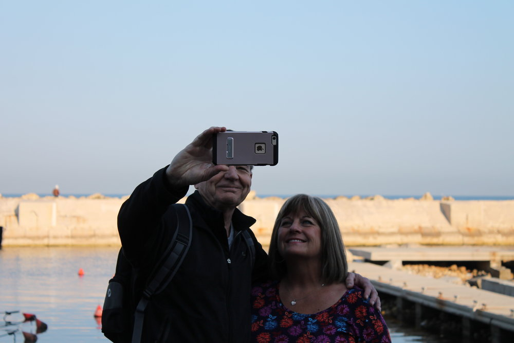 A selfie moment for Rick and Debbie Phillips.