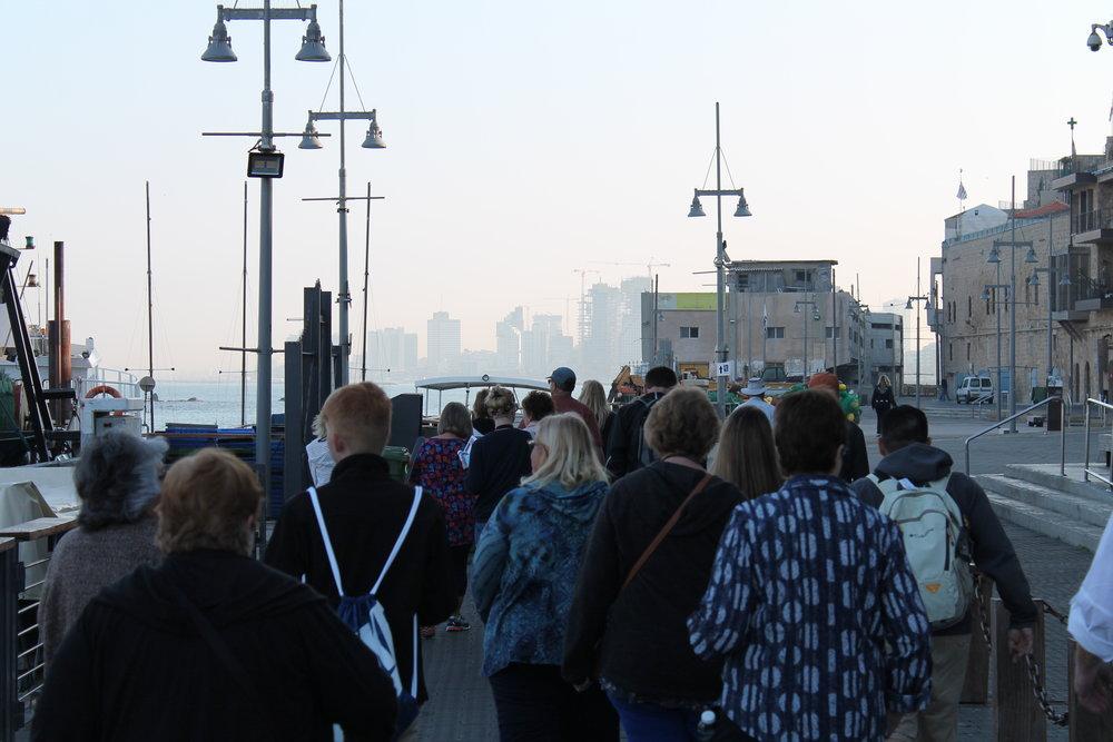 Walking along the harbor in Jaffa.