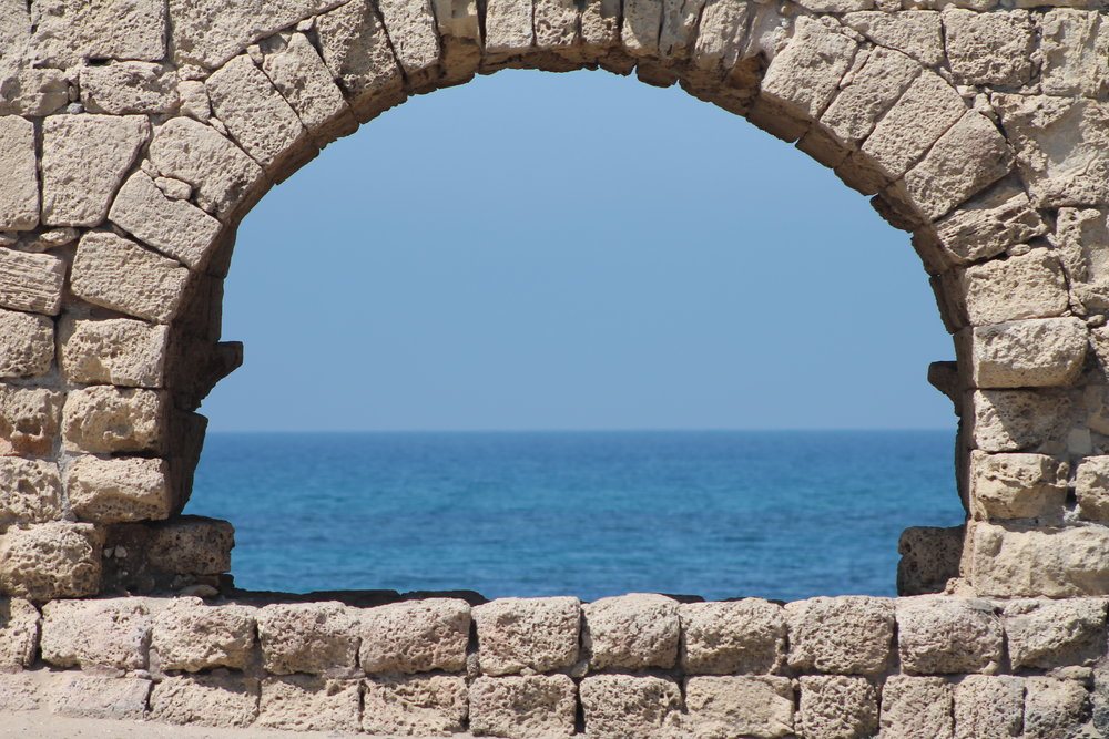 The ancient 8-mile-long aqueduct built by Herod the Great to bring fresh water to his outdoor pool at the edge of the Mediterranean Sea.