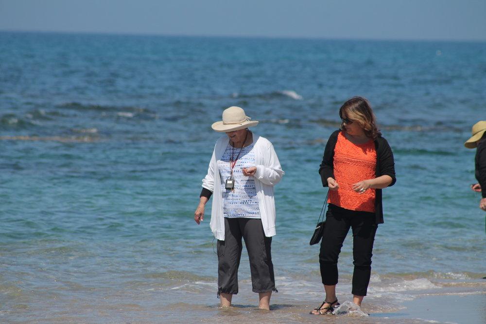 (Seasoned) Meredith and Wendy enjoying a stroll through the Mediterranean at Herod's aqueduct.