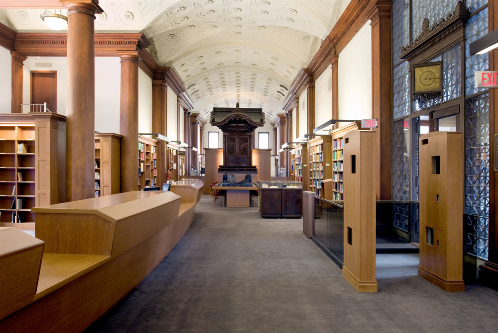 View towards circulation desk and shrine