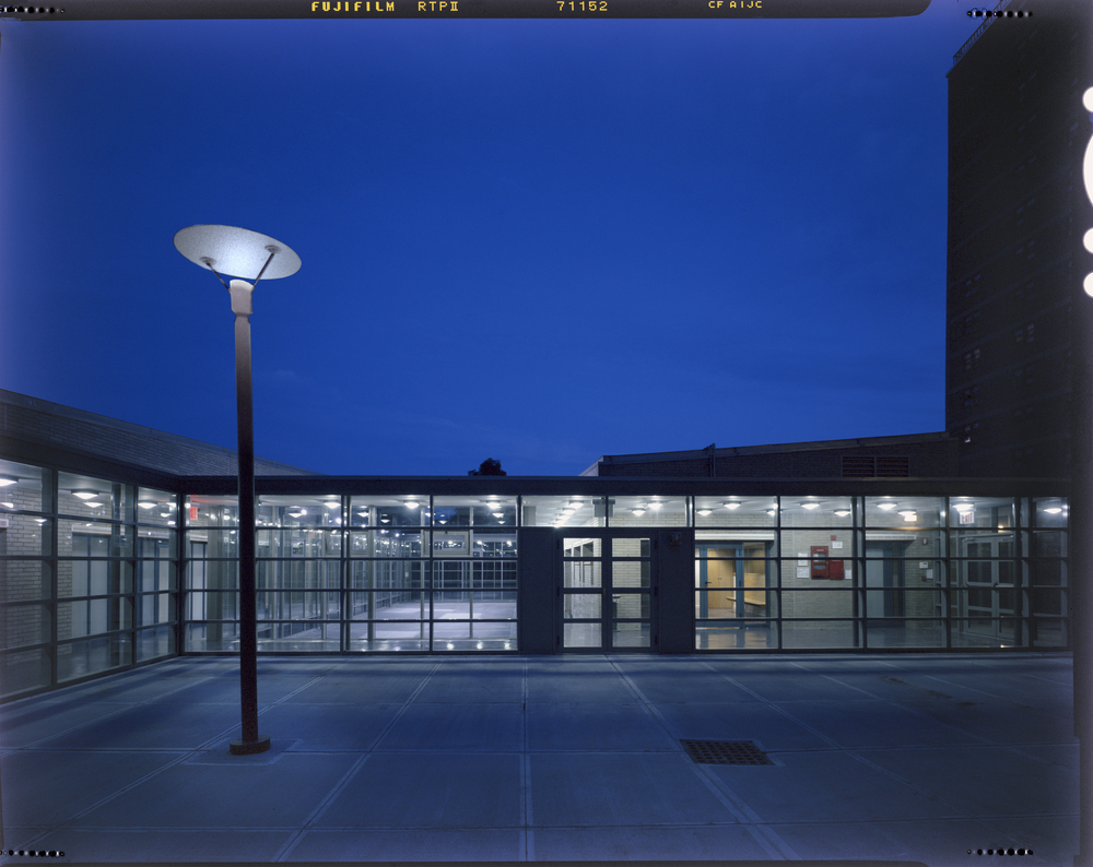 Senior grove and courtyard at night