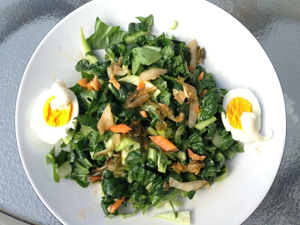 Field o' greens with egg