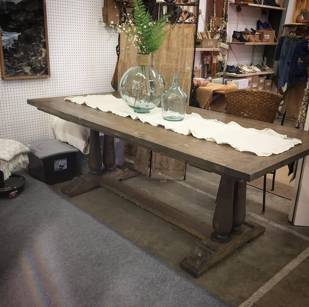 Double Spindle Trestle Table Honeysuckle Sawdust - Double trestle dining table