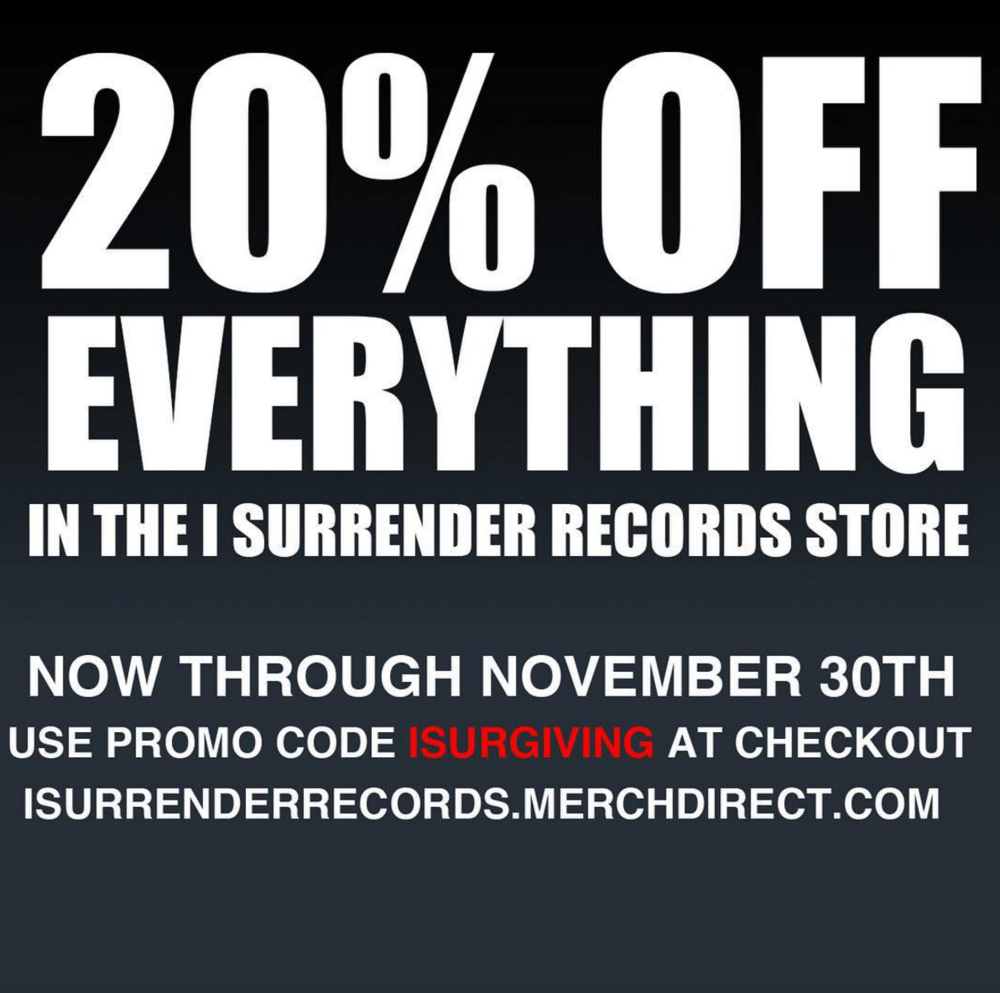 Get 20% now through tomorrow night with the code ISURGIVING in our store.